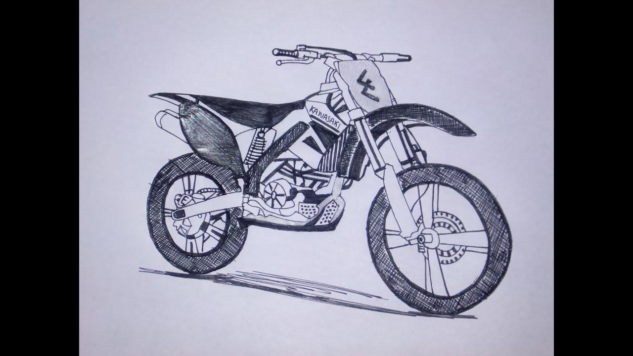 vector royalty free download Kawasaki dirt bike pen. Dirtbike drawing