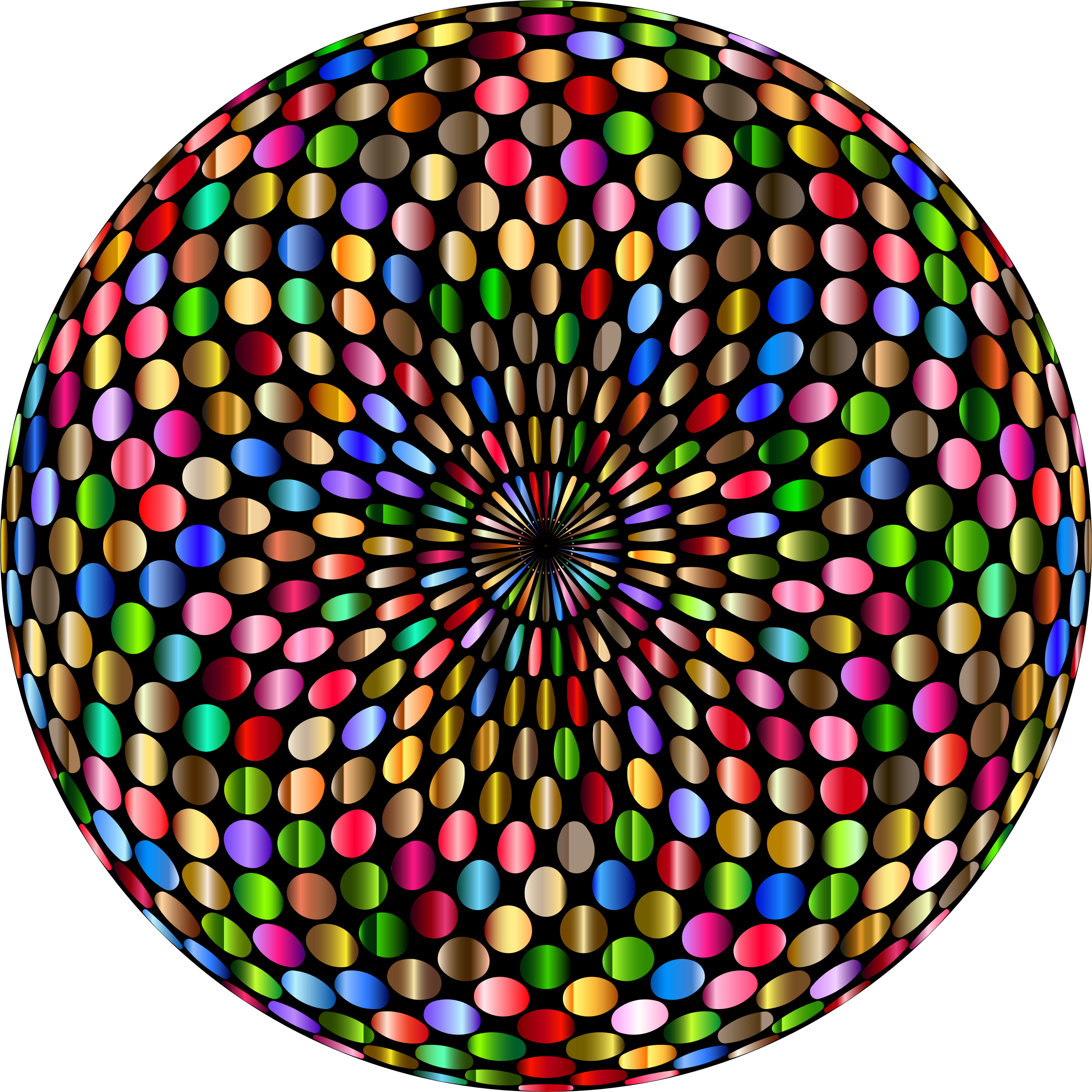 image Clipart chromatic disco ball. Psychedelic vector.