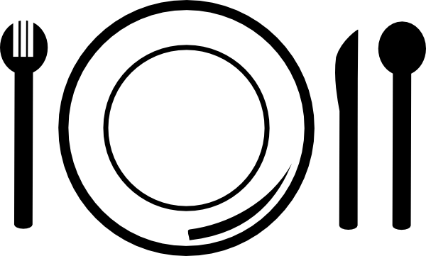 graphic black and white Dish clipart. And cutlery