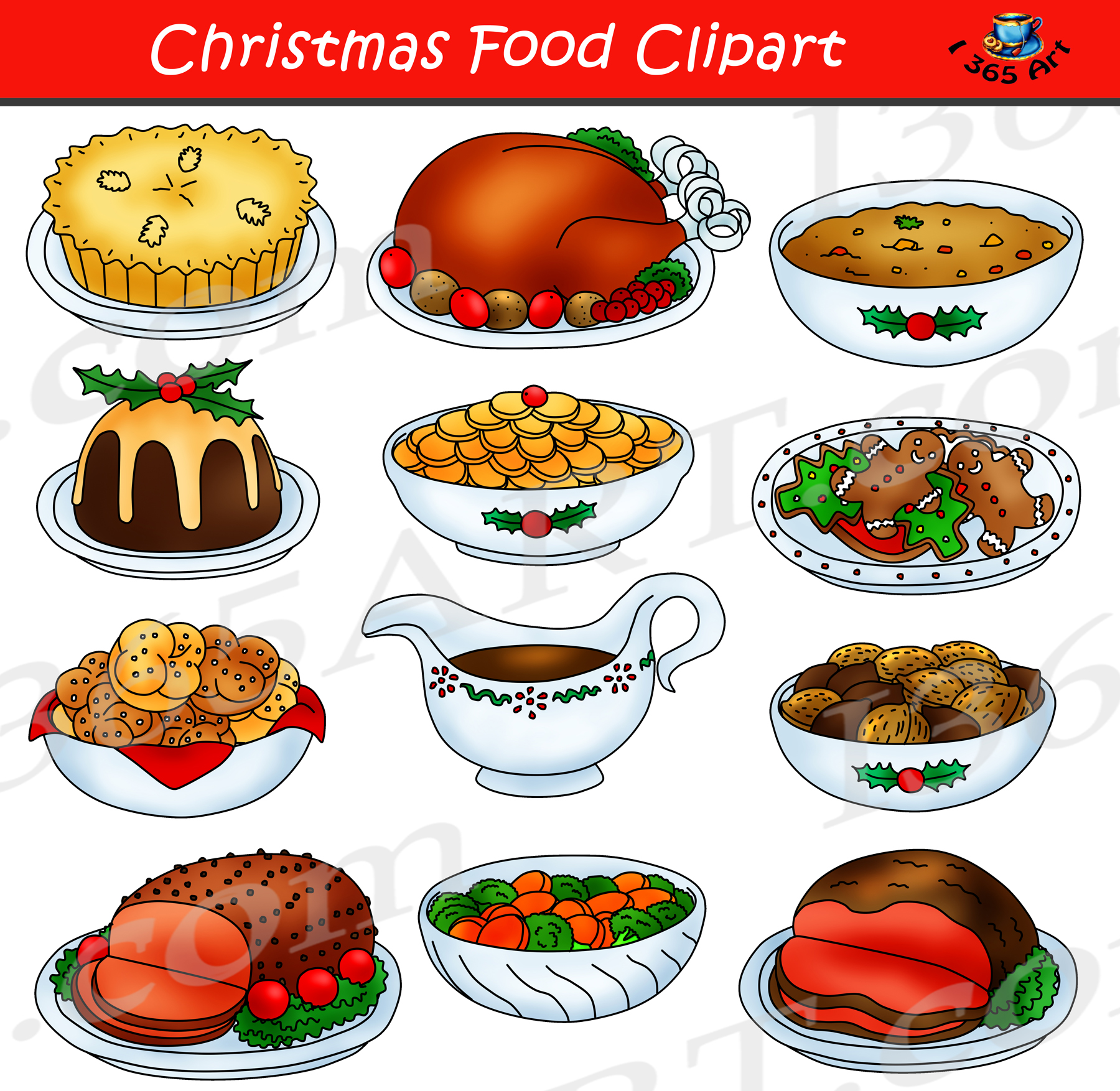 clip art free Dish clipart christmas. Food graphic set