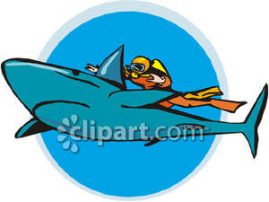 clip stock A scuba swimming royalty. Diver clipart swim with shark