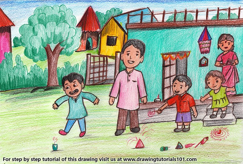 vector royalty free stock Diwali Drawing at PaintingValley