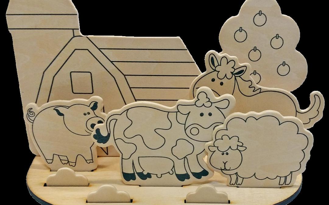 vector royalty free stock Wooden set farm animal. Diy drawing