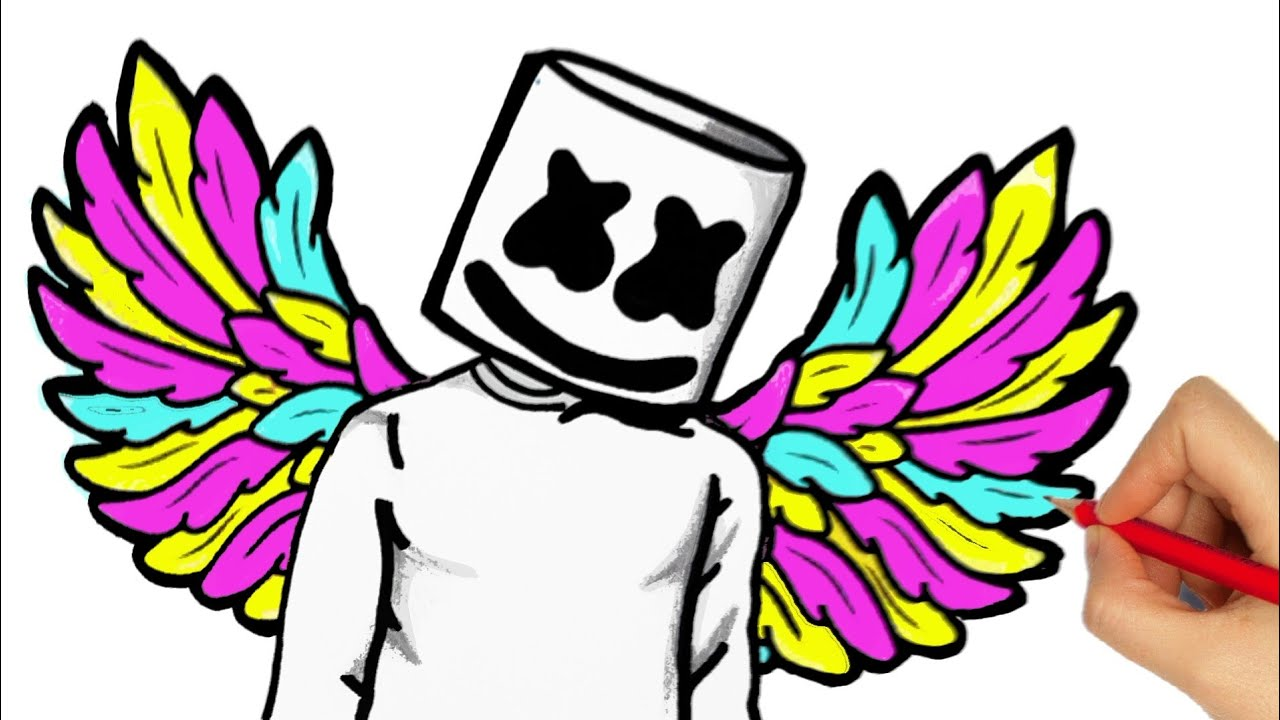 black and white download HOW TO DRAW DJ MARSHMELLO