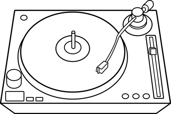 jpg black and white library Dj Turntables Clipart