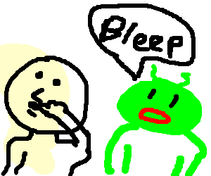 vector library Digital alien says bleep while man wipes nose