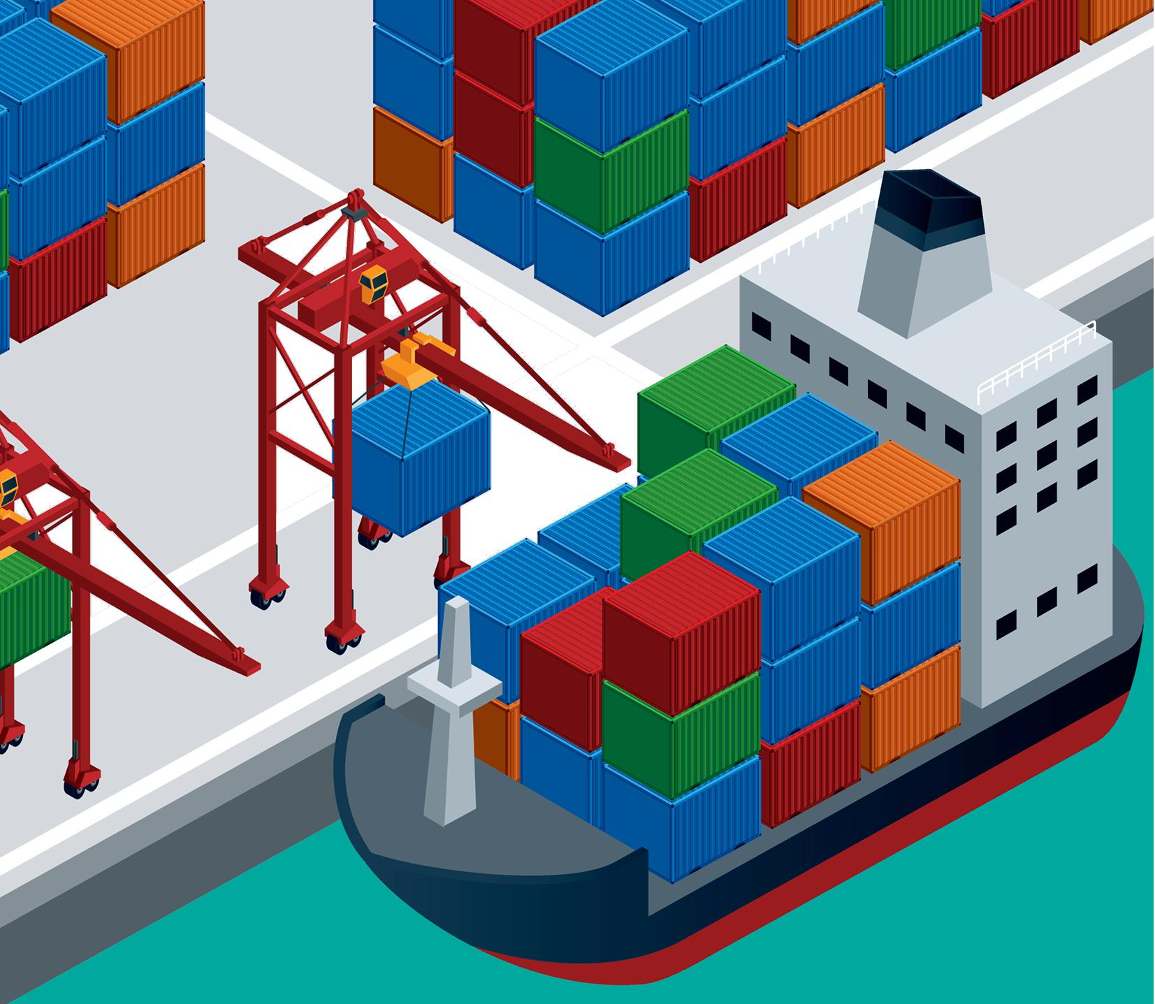 graphic library stock Port Intermodal container Ship Illustration