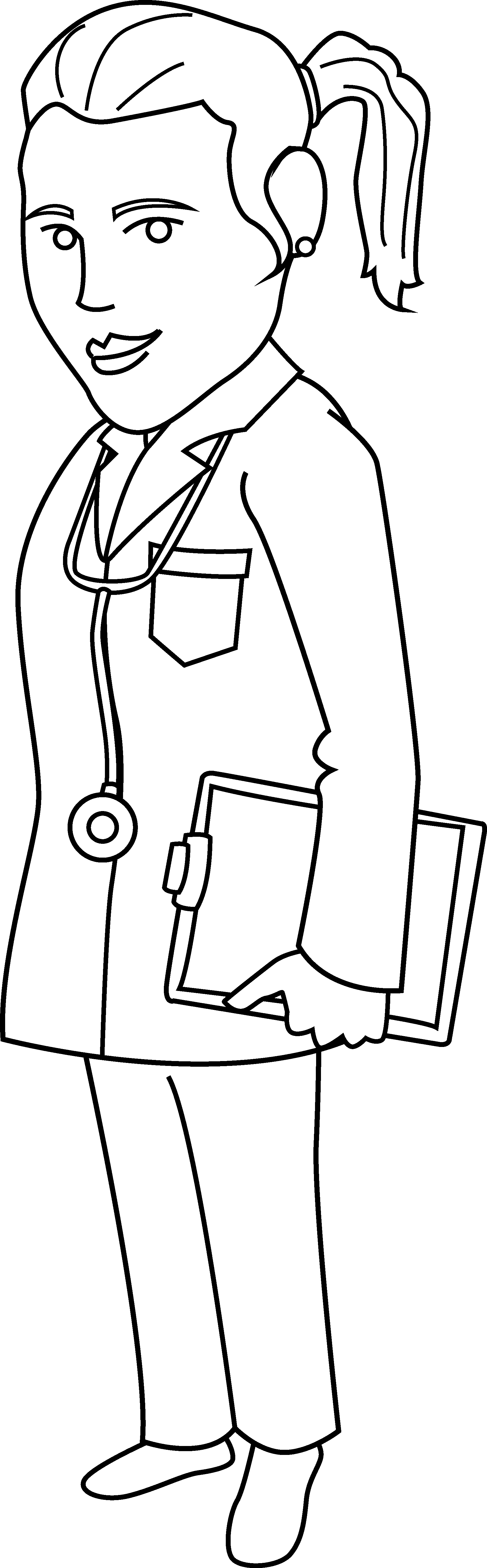 image black and white library Doctor Coloring Page