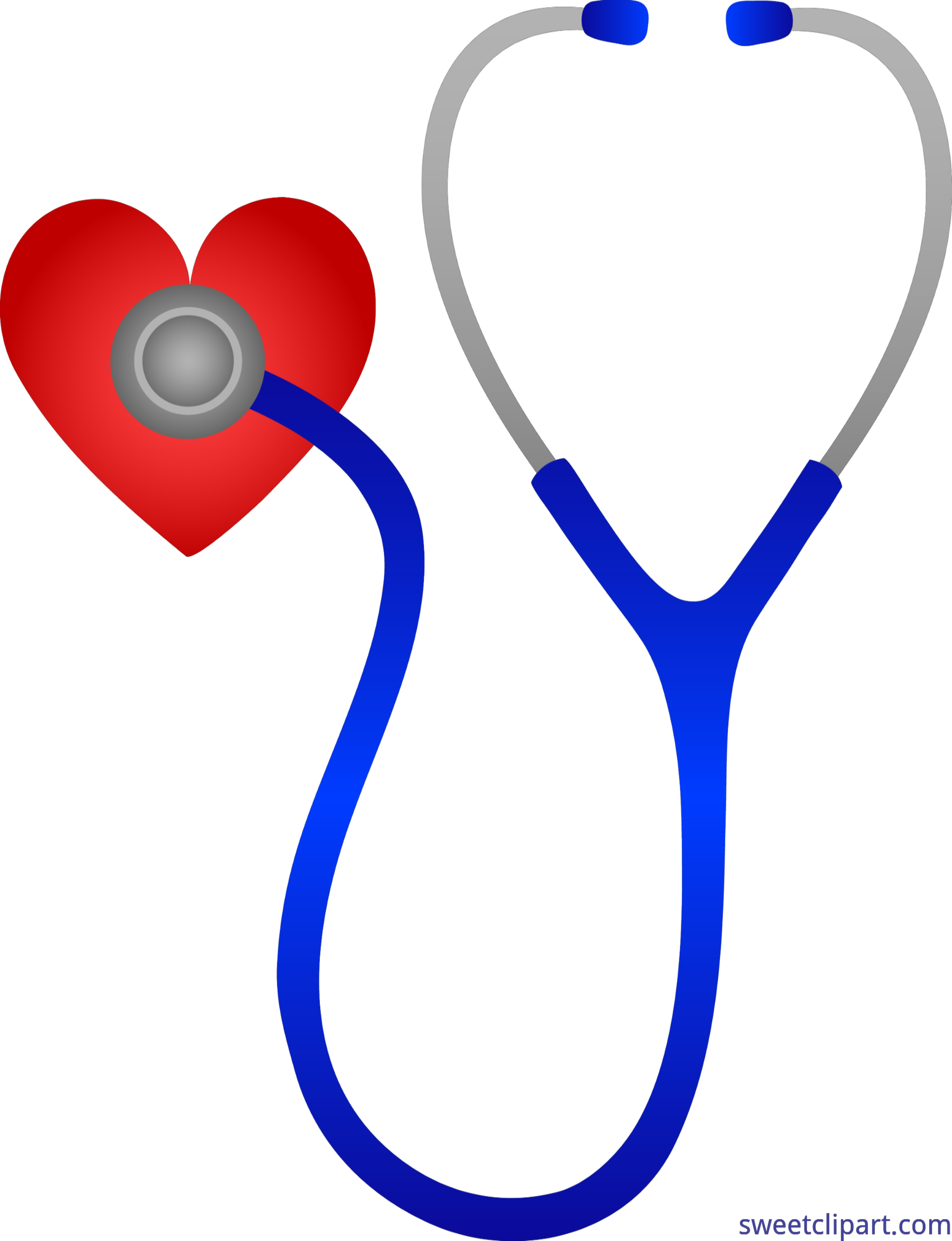 banner Stethoscope with heart clip. Doctors clipart