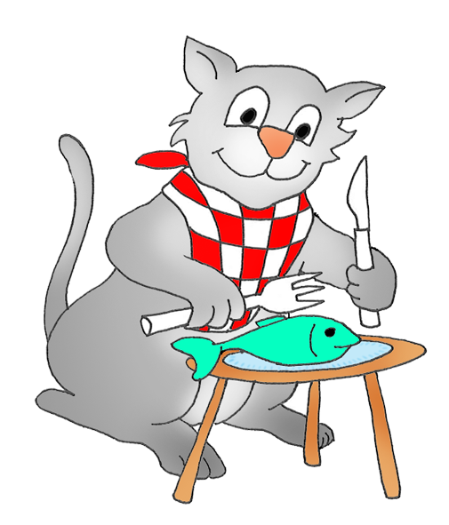 svg library library cat eating a fish clipart