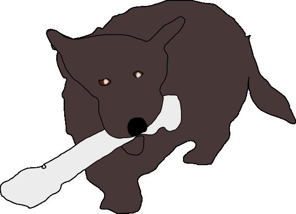 svg black and white Dog Eating Bone Clip Art at Clker