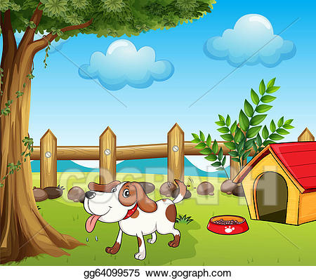 vector free Doghouse clipart dog fence. Vector a thirsty inside