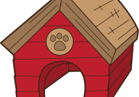 graphic black and white stock dog house clipart illustration of a dog house with a bone on a white