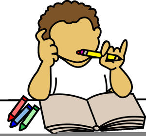 jpg library library Doing clipart. Boy homework free images