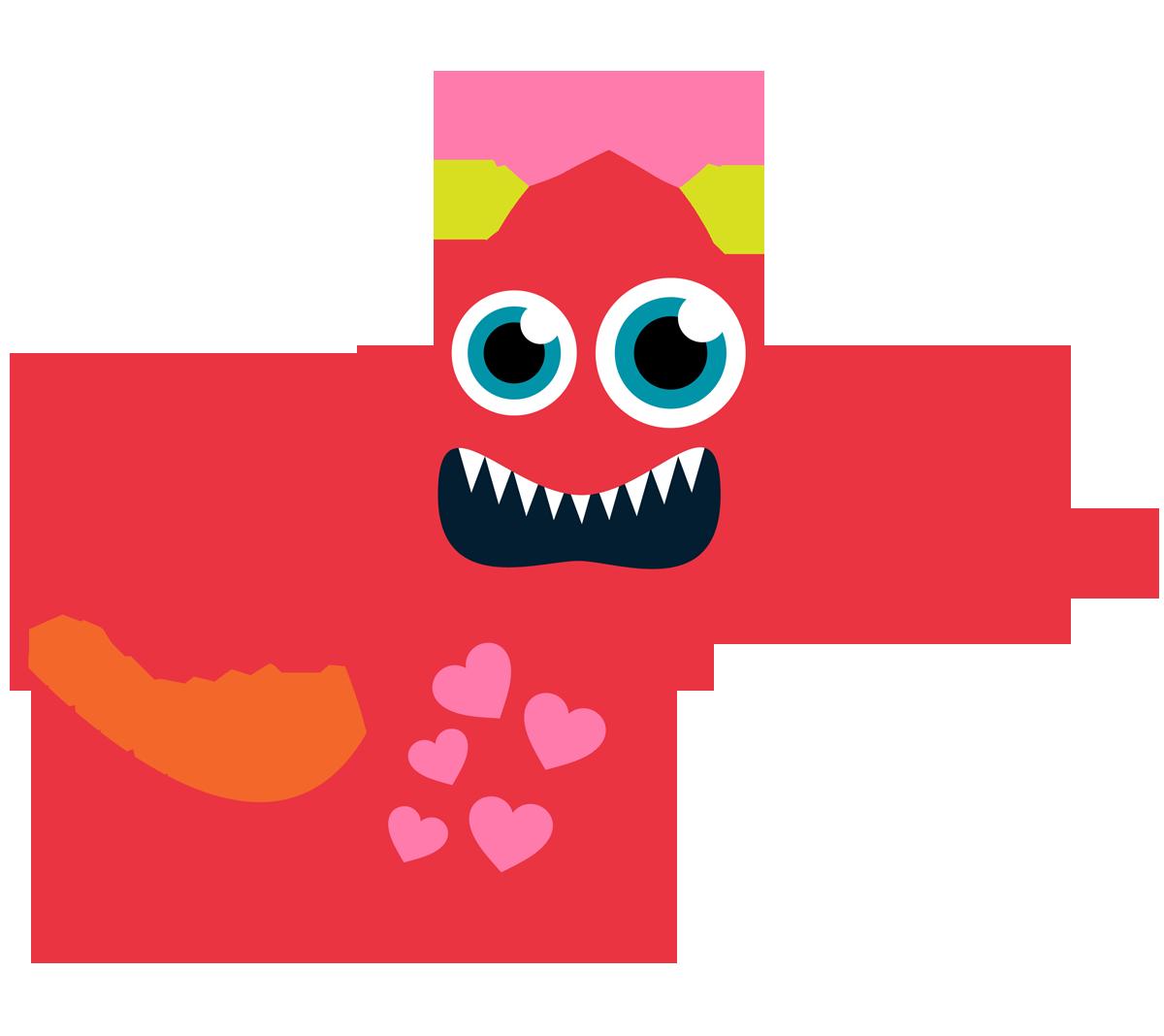 jpg freeuse stock Valentine's clipart orange monster. Valentine clip art animated