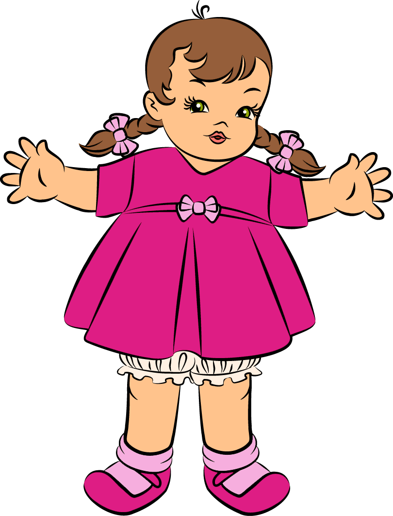 black and white stock Doll clipart. Pink