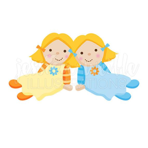 svg black and white library Dolls clipart. Twin dolly cute digital.
