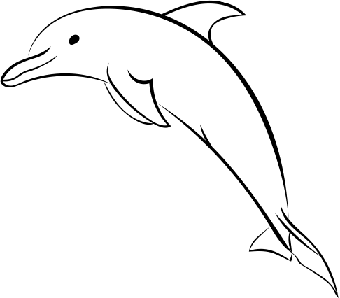 picture royalty free library Dolphin clipart black and white. Picture drawing at getdrawings