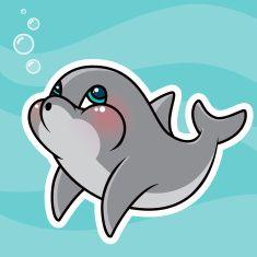 vector stock Adorable kawaii character art. Vector dolphin cute