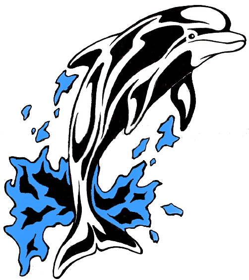 library drawing dolphin tribal #111729853