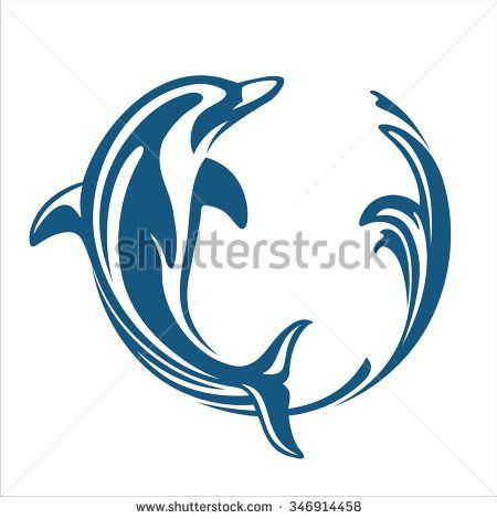 clip library download Circle stock art . Vector dolphin water