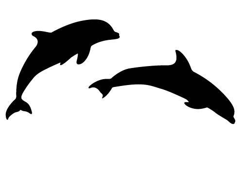 picture freeuse Two silhouette sheer joy. Vector dolphin beautiful