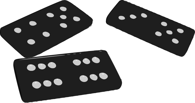 vector black and white stock Domino clipart. Dominoes medium image png