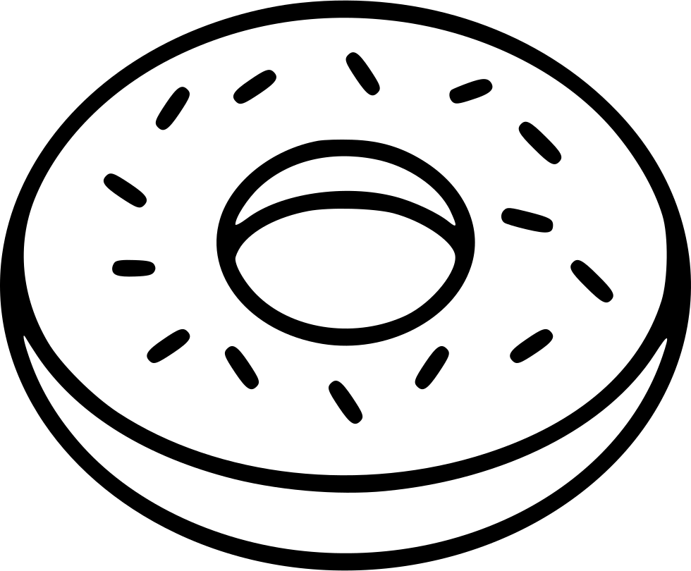 jpg free library Vector donut black and white. Svg png icon free