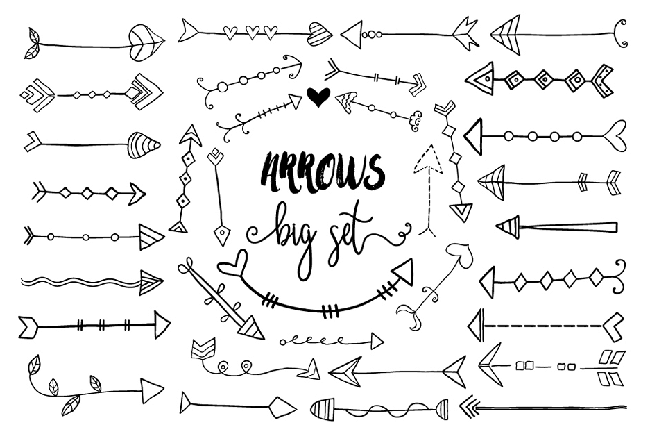 free Doodle arrow clipart. Black hand drawn arrows.