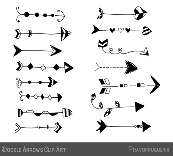 vector freeuse Cute arrows clipart. Black doodle hand drawn.