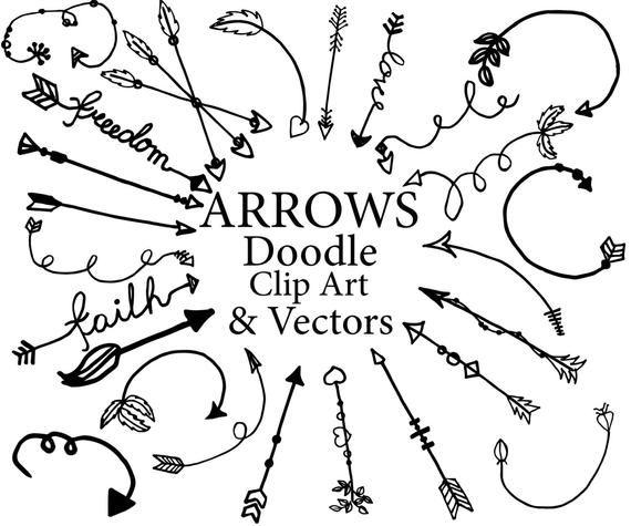 jpg royalty free download Doodle arrows clipart. Tribal graphics hand drawn.