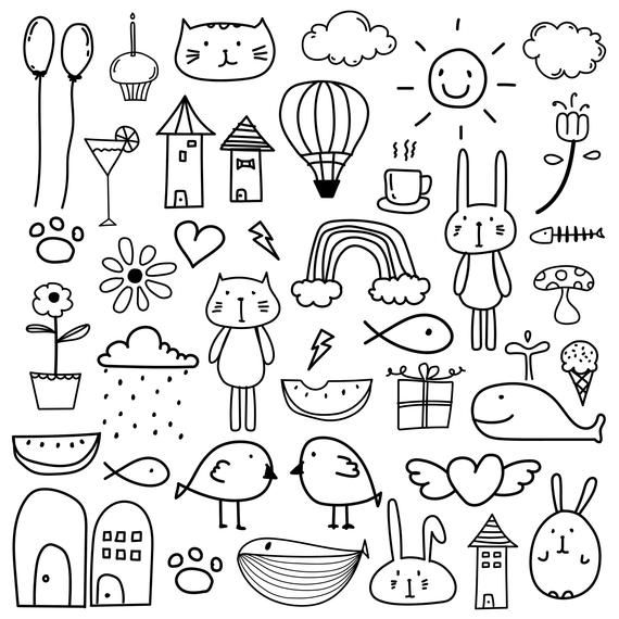 vector transparent library Doodle clipart. Hand drawn kids for.