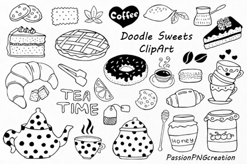 clip art royalty free Sweets tea time clip. Doodle clipart