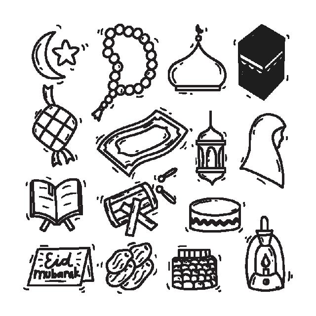clip art freeuse library Modern eid mubarak icon. Doodle vector
