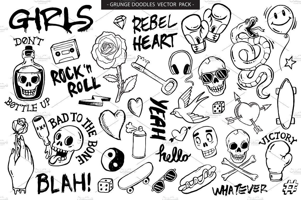 graphic royalty free Grunge graffiti doodles pack. Doodle vector doodling