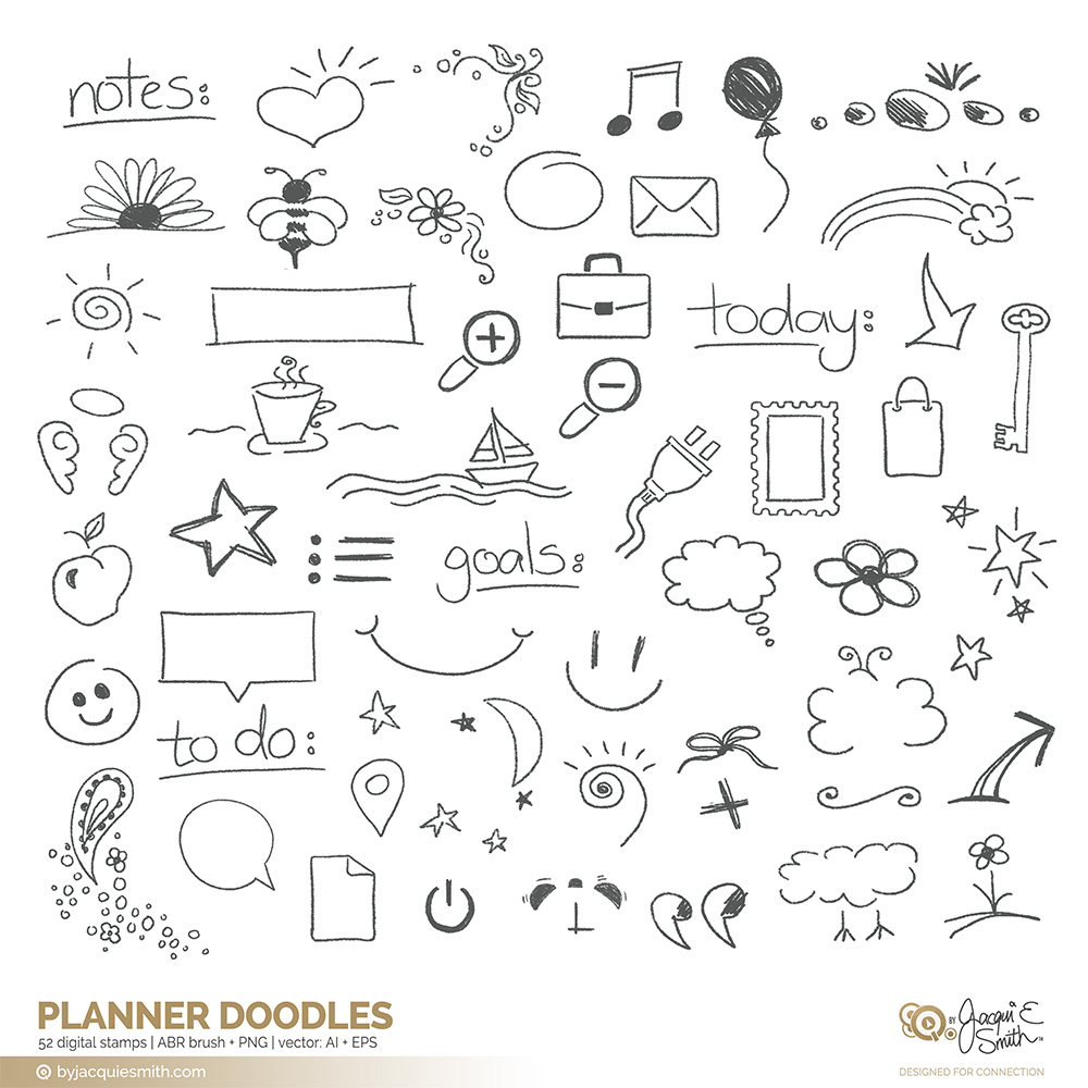 clip stock Doodle vector doodling. Planner brushes and overlays