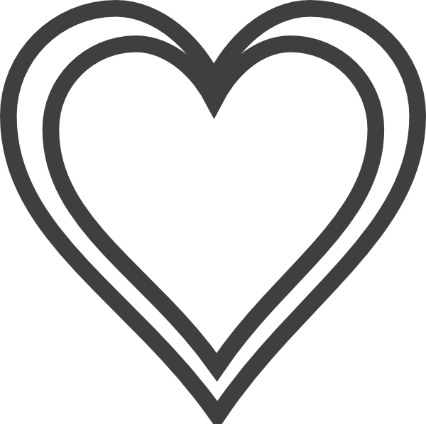 jpg transparent stock Double heart clipart black and white. Outline clip art at