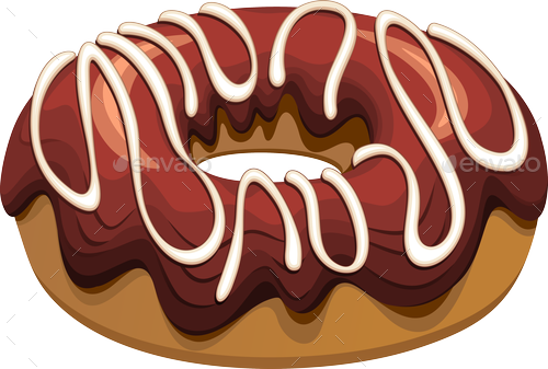 clipart freeuse stock Donuts flavours set by. Vector donut chocolate