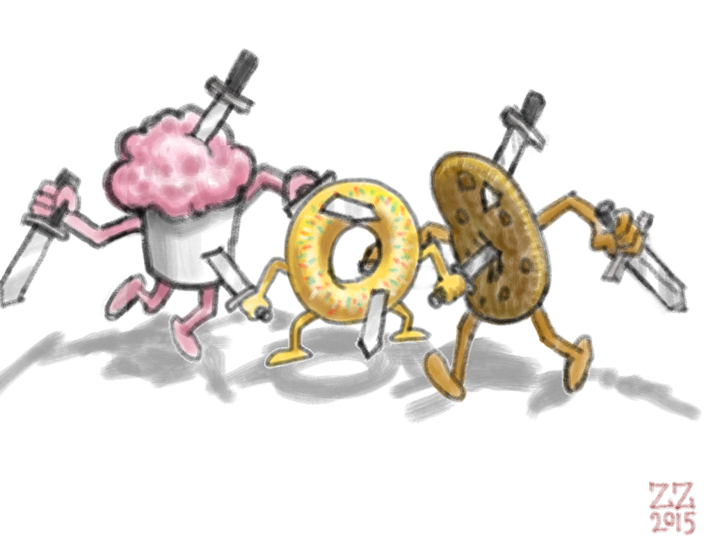 picture freeuse stock draw cupcake cookie and donut stabbing each other by zenzmurfy on