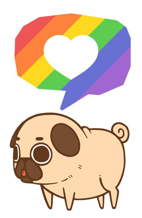 image black and white Doughnut drawing pug. Puglie supports equality love