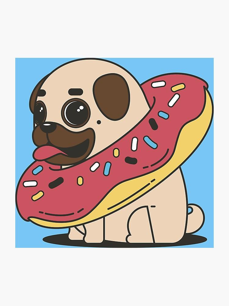graphic royalty free library Doughnut drawing pug. Cute funny cartoon dog
