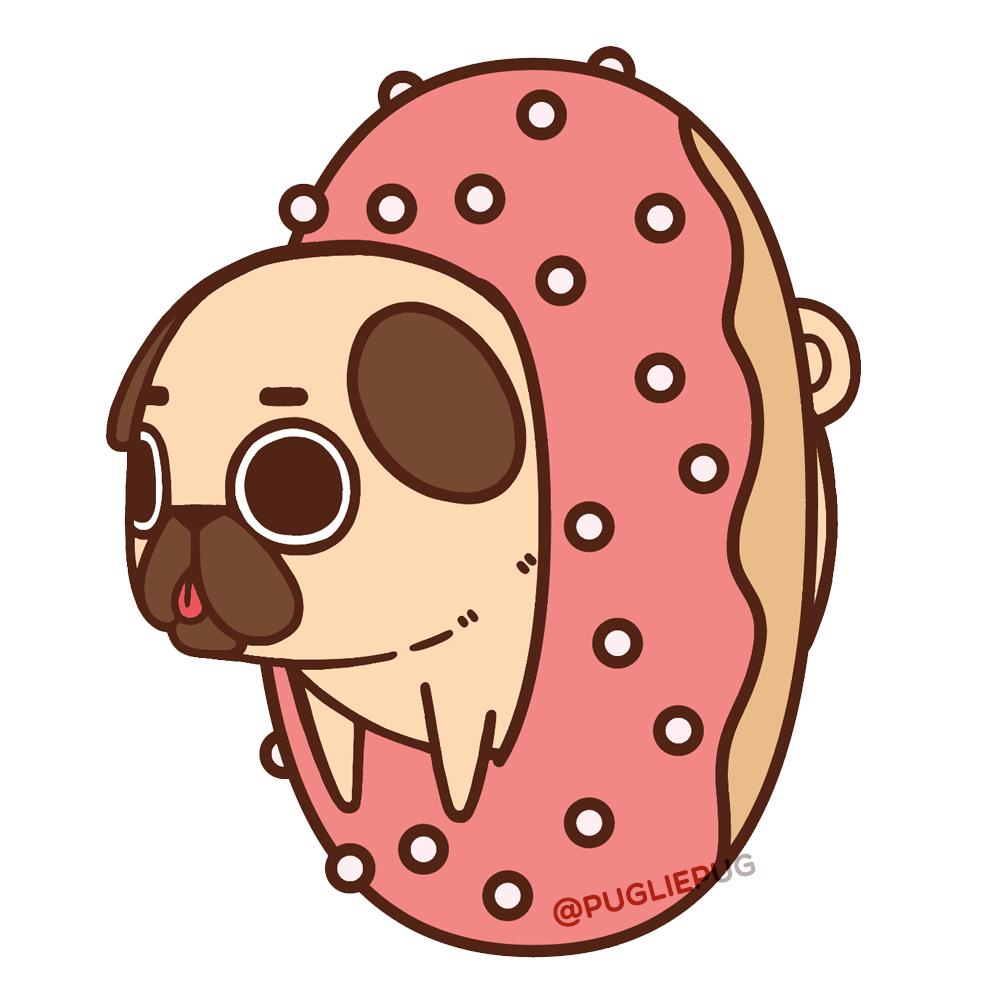 clip art freeuse Doughnut drawing pug. Always a good day