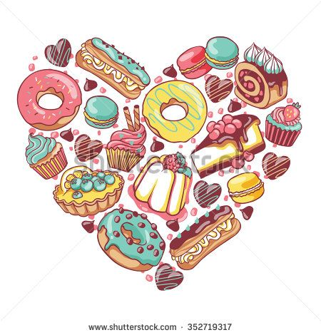 clip royalty free stock Love pastry sweets desserts. Vector donut cupcake