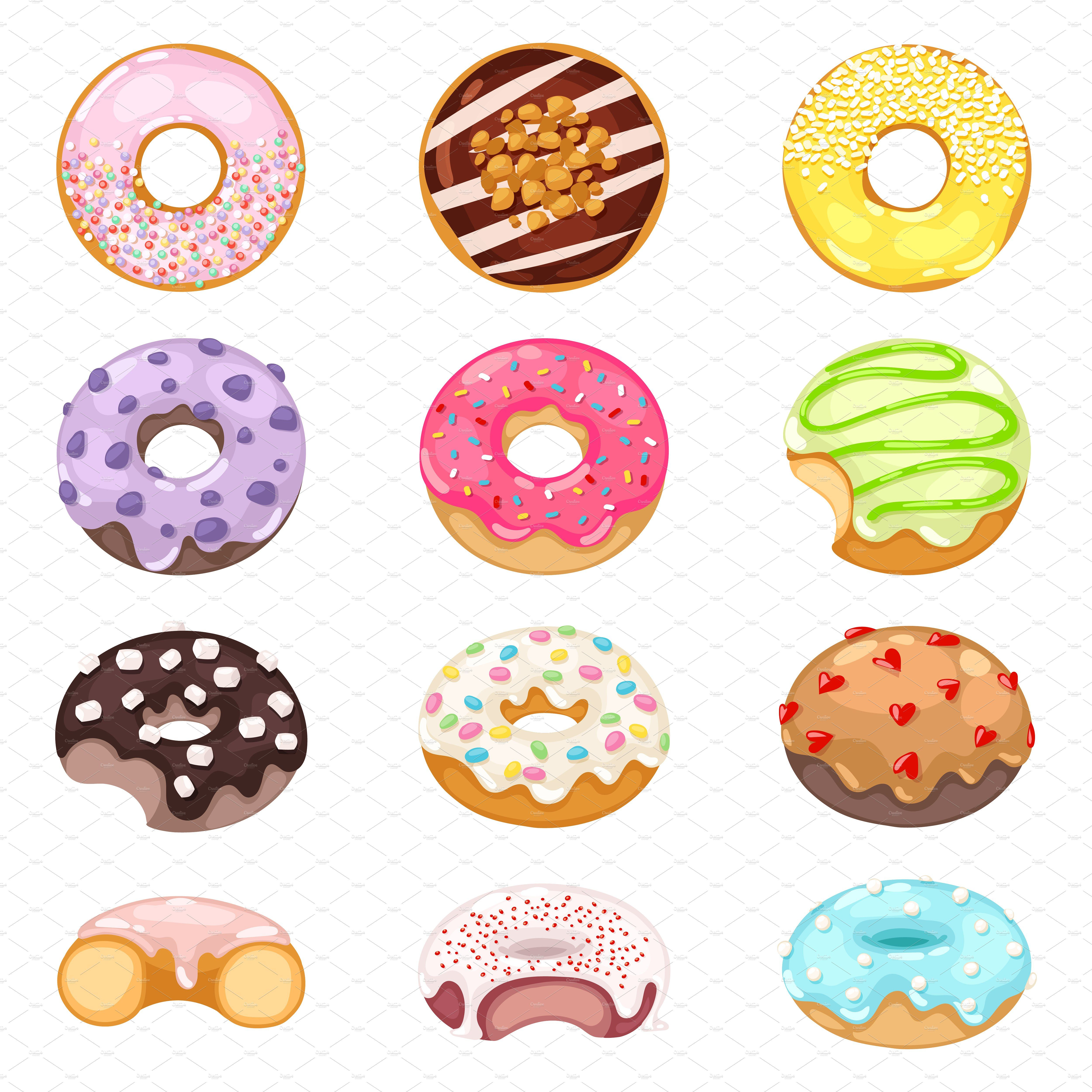 clip art black and white download Donuts vector set by Vectorstockersland on