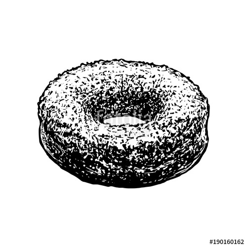 clip transparent Sketch icon isolated on. Vector donut hand drawn