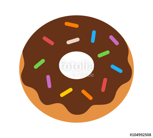 jpg download Doughnut with chocolate frosting. Vector donut flat
