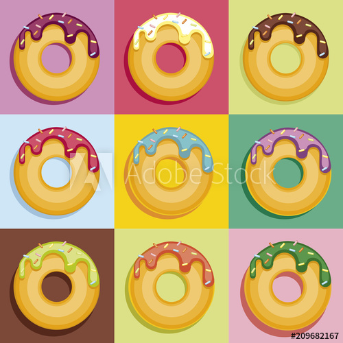 clipart library stock Set of colorful donuts. Vector donut pastel