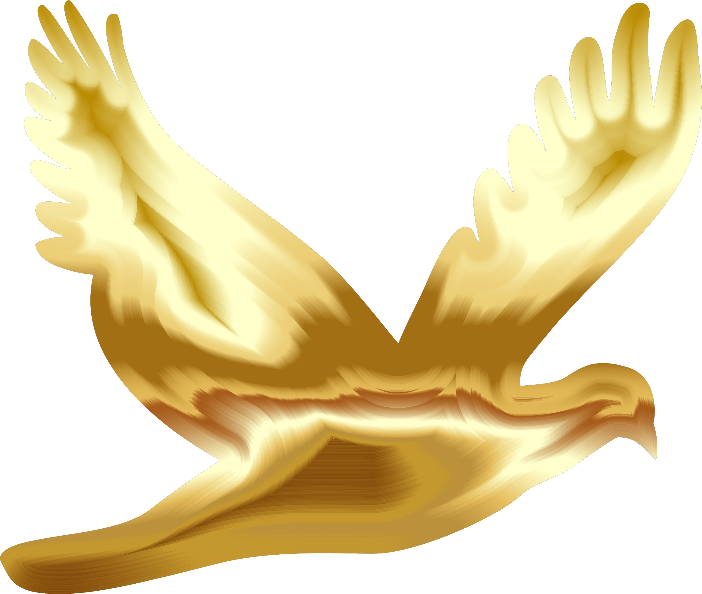 royalty free Flying silhouette no background. Gold clipart dove