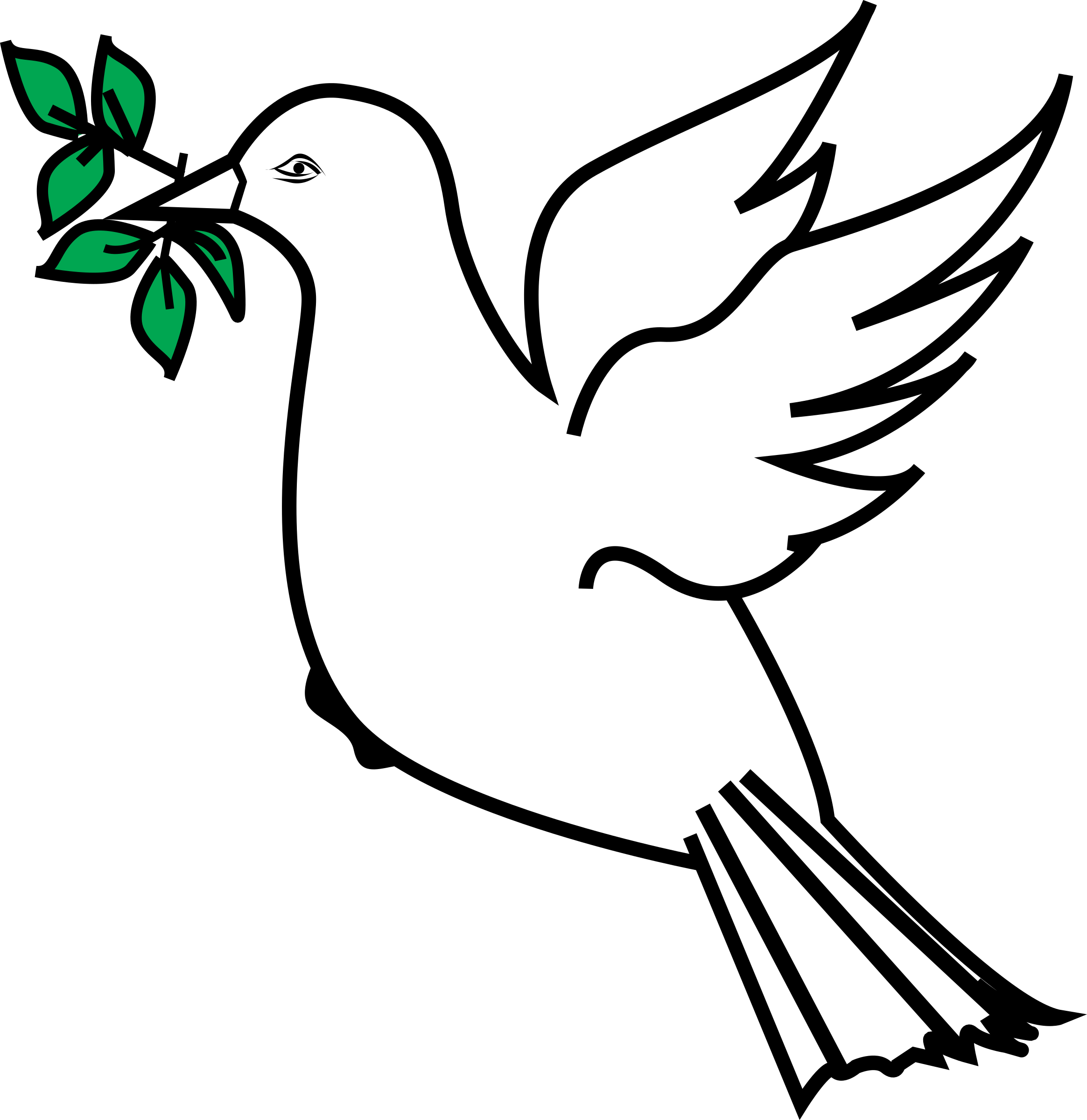 svg black and white Drawn Dove olive branch drawing