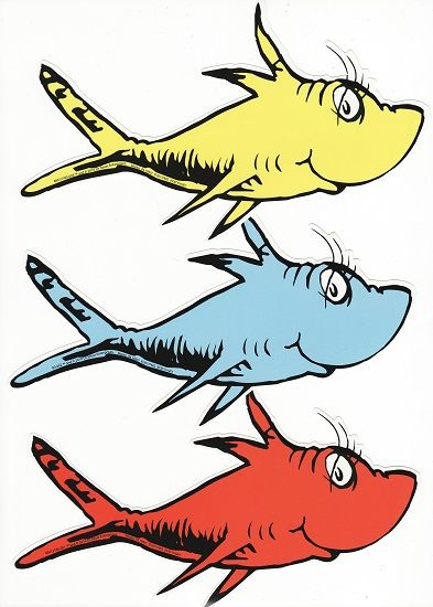 graphic black and white library One two blue . Dr seuss clipart red fish